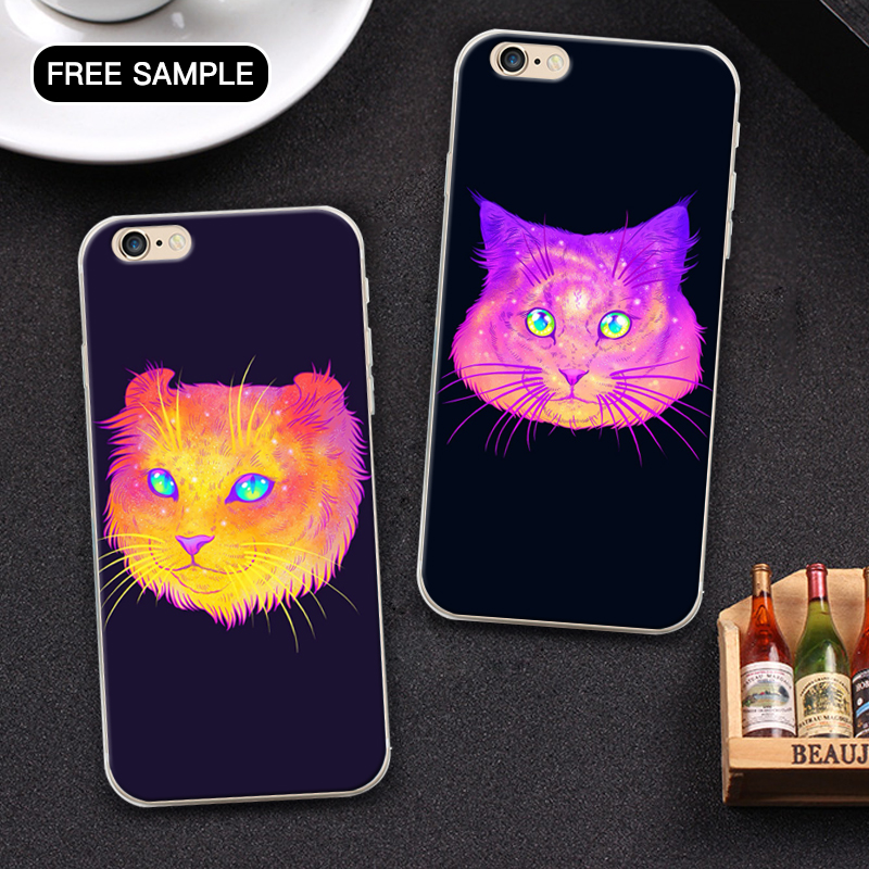 free sample Cool starry sky cat phone case for i5 iPhone 5 5s se custom made wholesale cell phone case with L/C