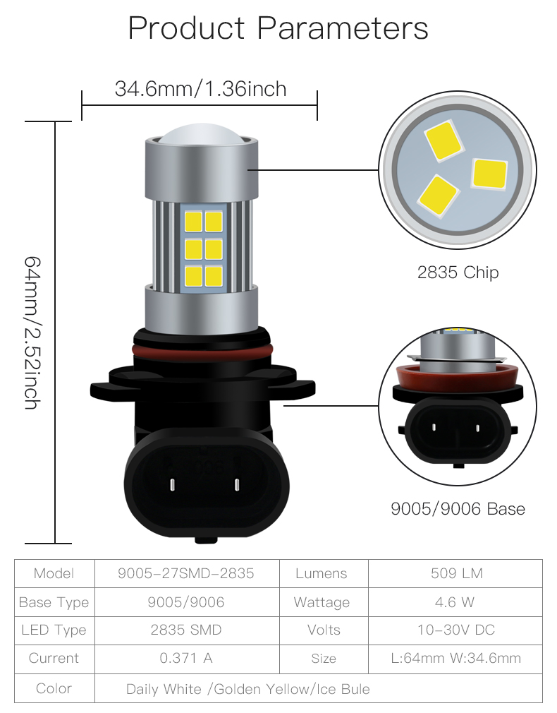 Fog Loghts Amber Bulb H8/H11-27Smd-2835 H1 H16 Hid Fog Lights For Cars
