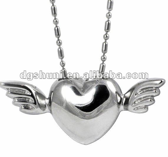 stainless steel heart with wings pendant necklace