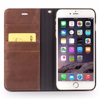 2016 New Product Luxury Cow Leather Ultra Thin Case For iPhone 6, Book Flip Case For iPhone 6 plus