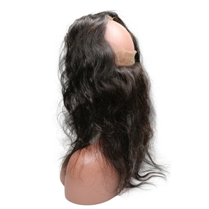 Un processed virgin remy hair indian human hair 360 lace frontal closure, cuticle aligned hair natural hairline