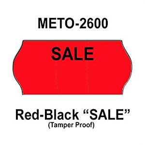 "216,000 Meto 2600 ""Sale"" Fluorescent Red General Purpose Labels to fit the Meto 8-26, Meto 10-26, Meto 55S-26 Price Guns. Full Case,, and includes 12 ink rollers."