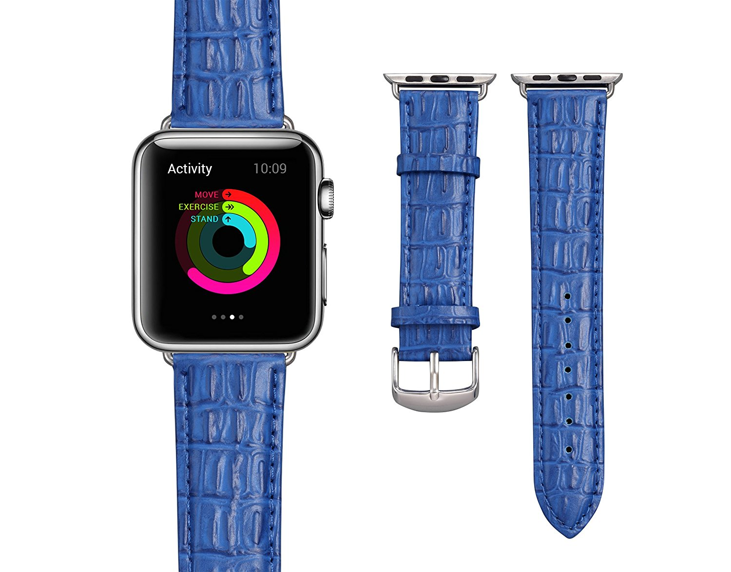 Apple Watch Strap 38mm, BASN Genuine Leather Band with Stainless Steel Adapter Replacement Wrist Band Watchband for Apple Watch 38mm All Series (Blue 38mm)