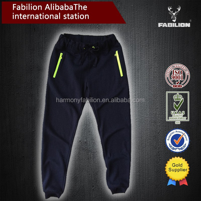 Online wholesale men's poly cotton plus basketball pants with double side zipper pockets for palazzo pants