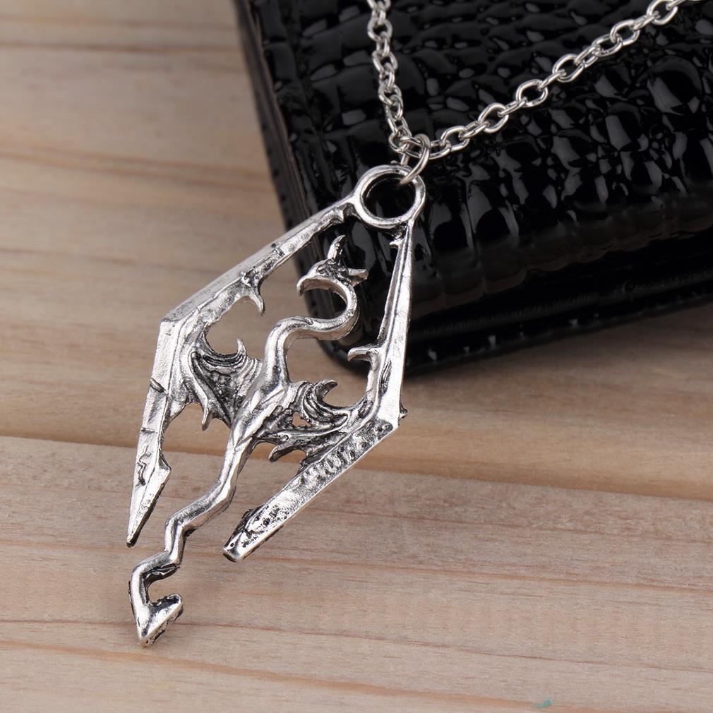 Wholesale-New Dinosaur Pendant Necklace Skyrim Elder Scrolls Dragon  Pendants Vintage Necklace for Men/Women Jewelry Worldwide Sale