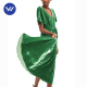 Professional standard horn sleeve green velvet high waist long dress