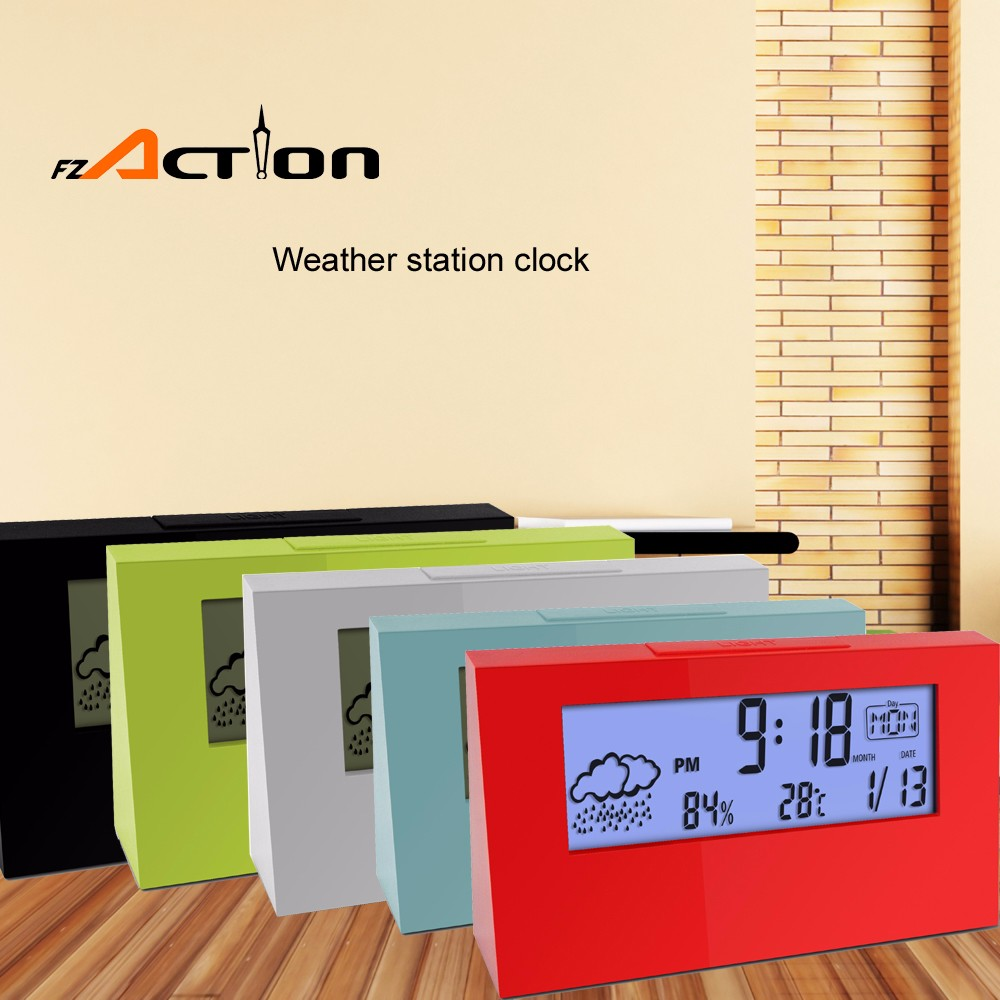 Digital Promotion Indoor Temperature Alarm Desk Clock With Weather Station