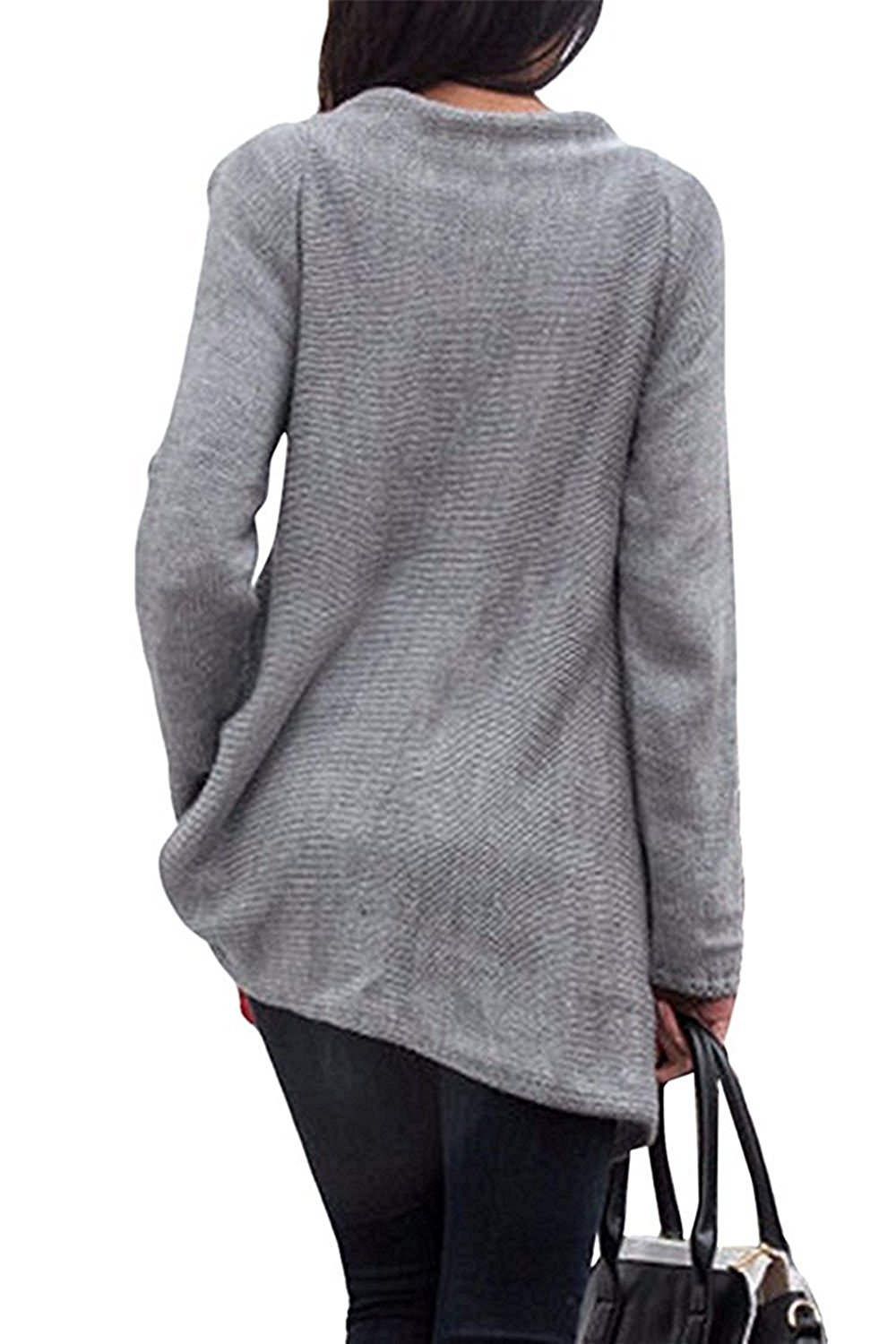 Breathable Women's Tassel Hem Crew Neck Knited Sweater Coat Outwear