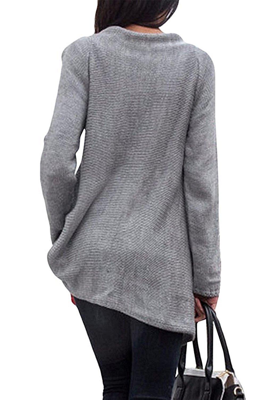 LeNG Women's Tassel Hem Crew Neck Knited Sweater Coat Outwear