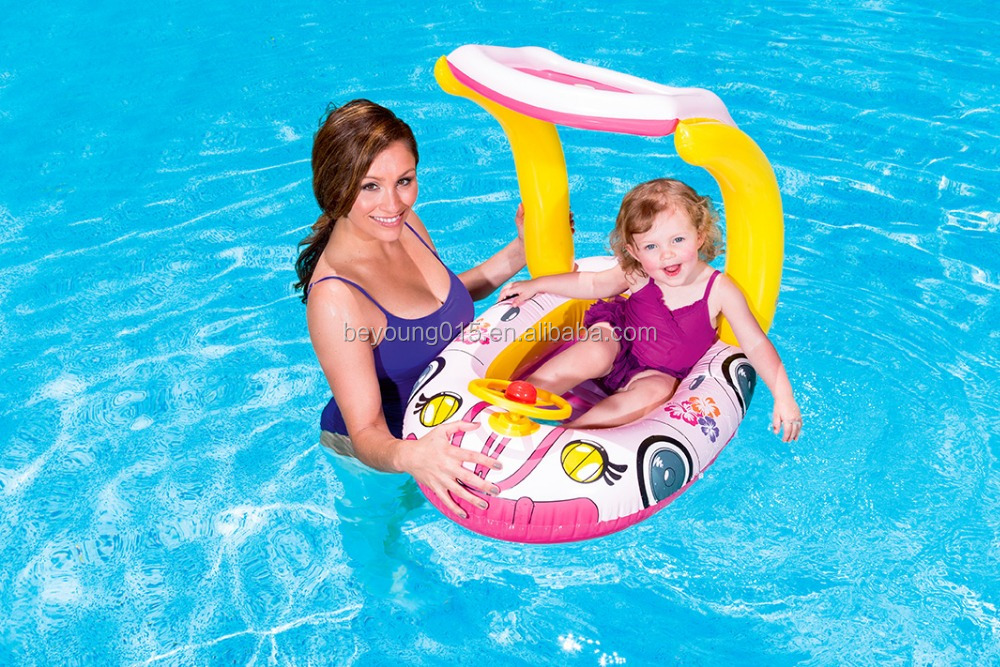 Inflatable Baby Float Seat Boat Ring With Uv Car Sunshade Swim Pool ...