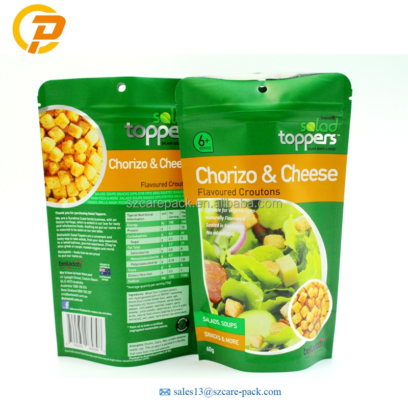 Food Grade Matte finished Zipper Aluminum Foil Stand Up Pouch For Croutons