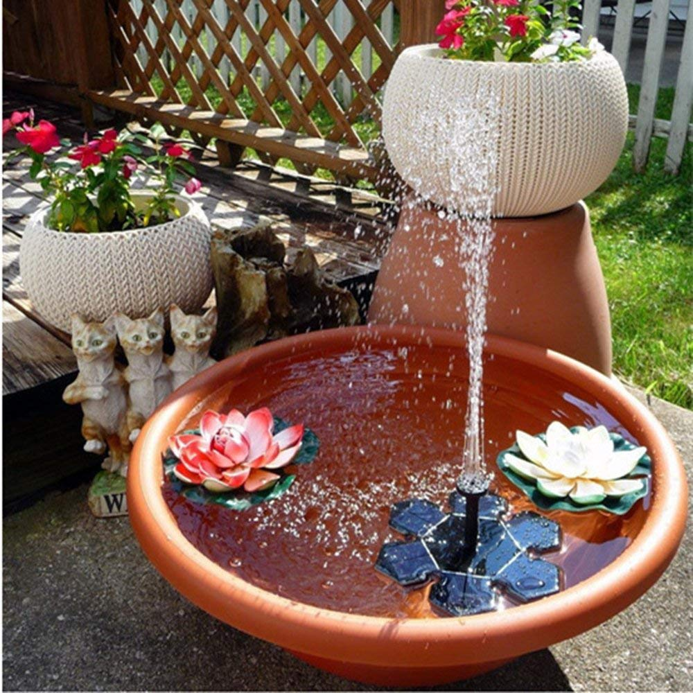 Solar Fountain,Hongxin 1.5W Garden Birdbath Pool Fountain Watering Wide Irrigation Pumps Creative Solar Power Water Floating Fountain Water Pump Outdoor Garden Decoration Waterfalls