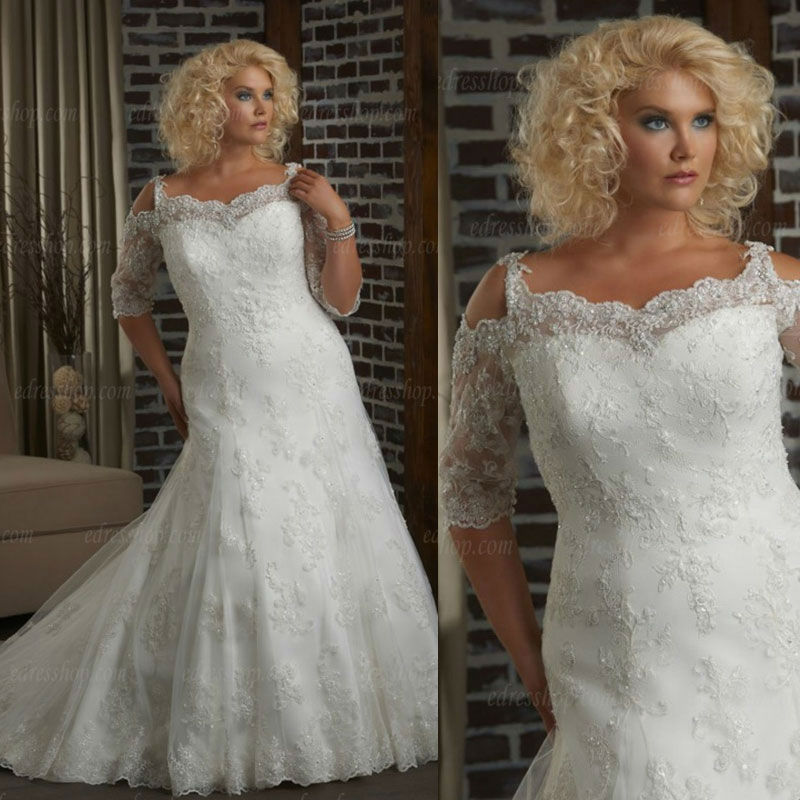 Lace Fit And Flare Wedding Gown: 2013 Half Sleeves Fit And Flare Lace Plus Size Bridal