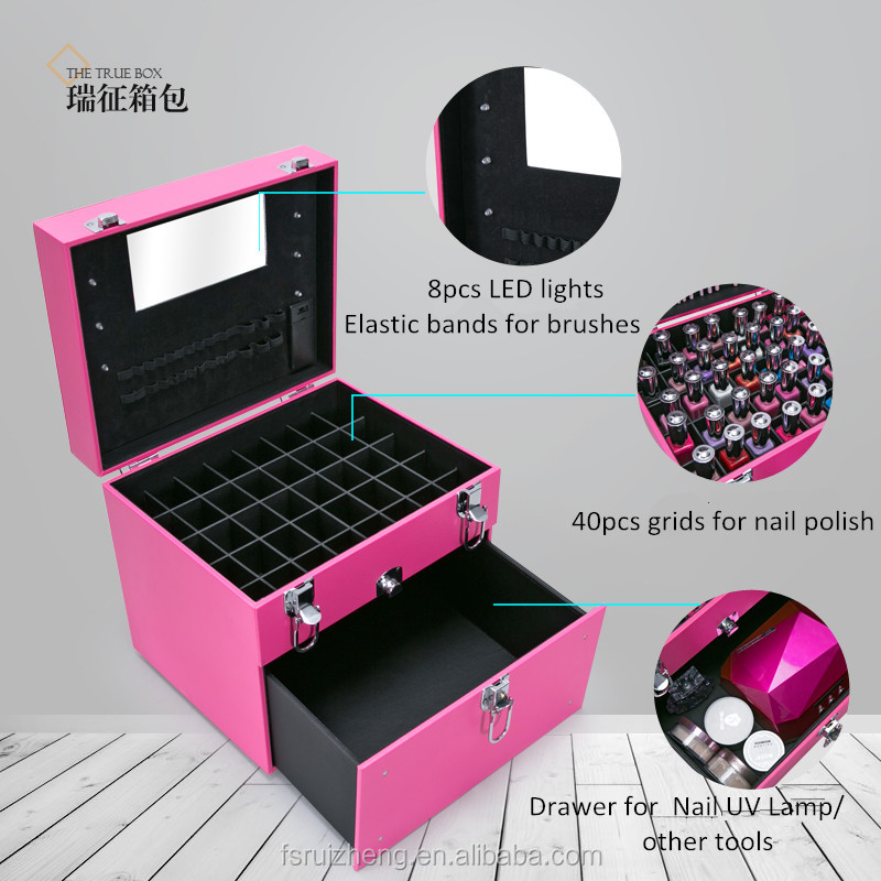 Soft Leather LED Lights Cosmetic Nail Polish Carrying Case