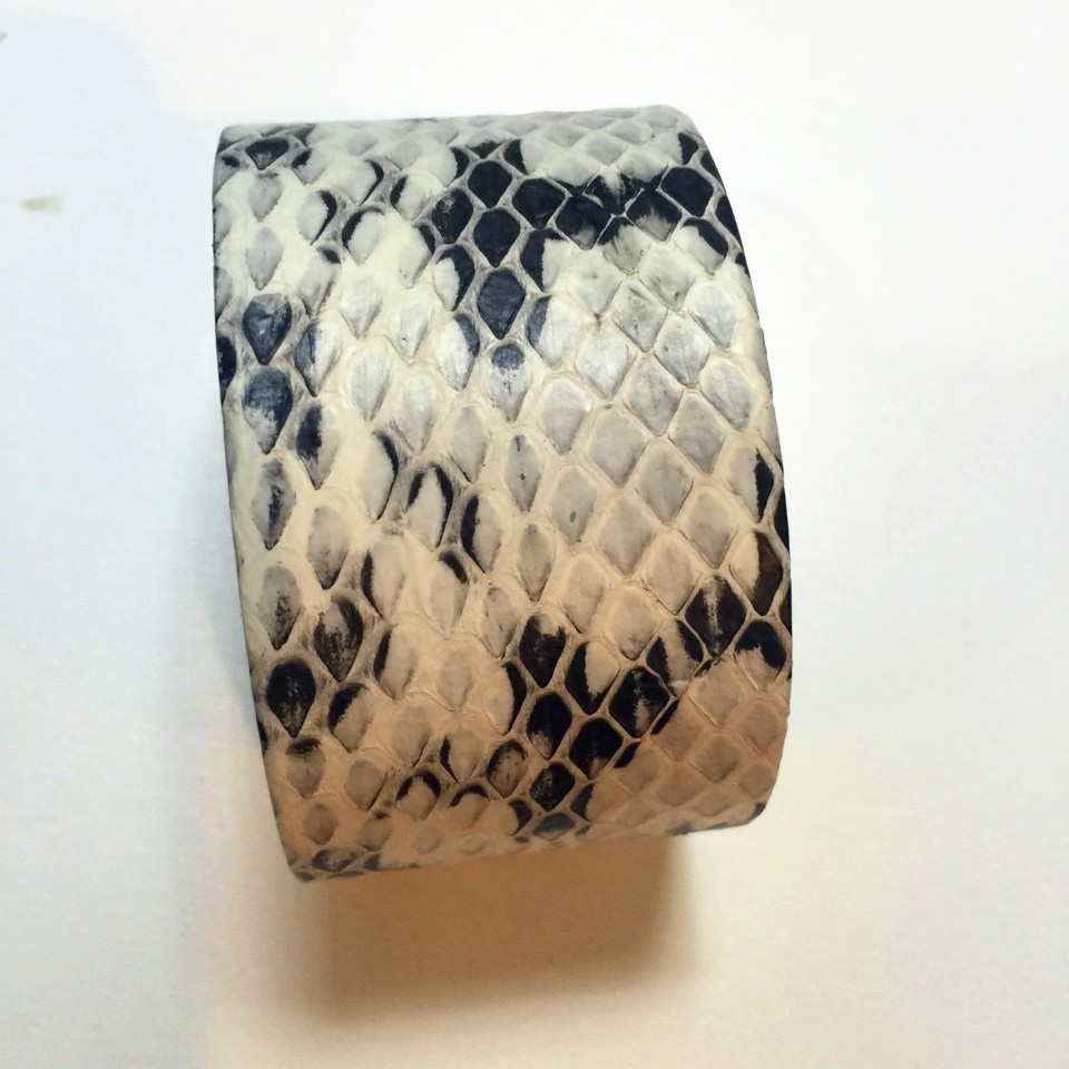 Womens Wide Snakeskin Wrapping Outside Stainless Steel Bangle