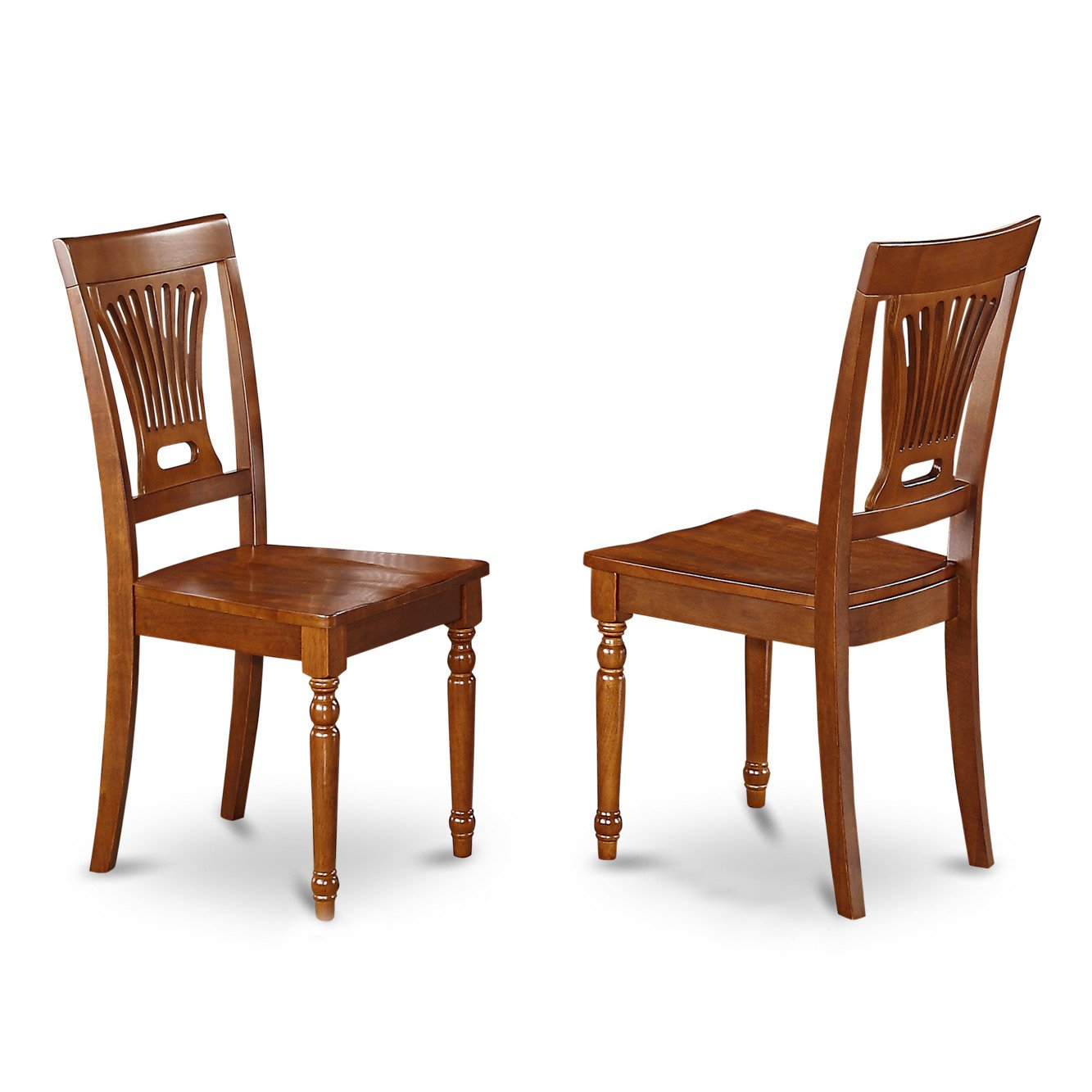 East West Furniture PVC-SBR-W Kitchen/Dining Chair Set with Wood Seat, Saddle Brown Finish, Set of 2