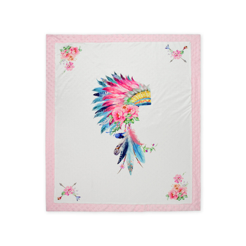 Indiana Feather Head Minky Gift Blanket Newborn Receiving Blanket Custom Print Blankets