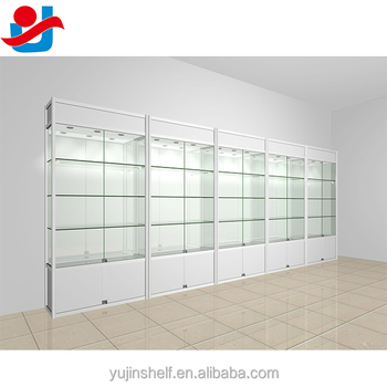 Modern Display Glass Cabinets White Color Glass Store Showcase