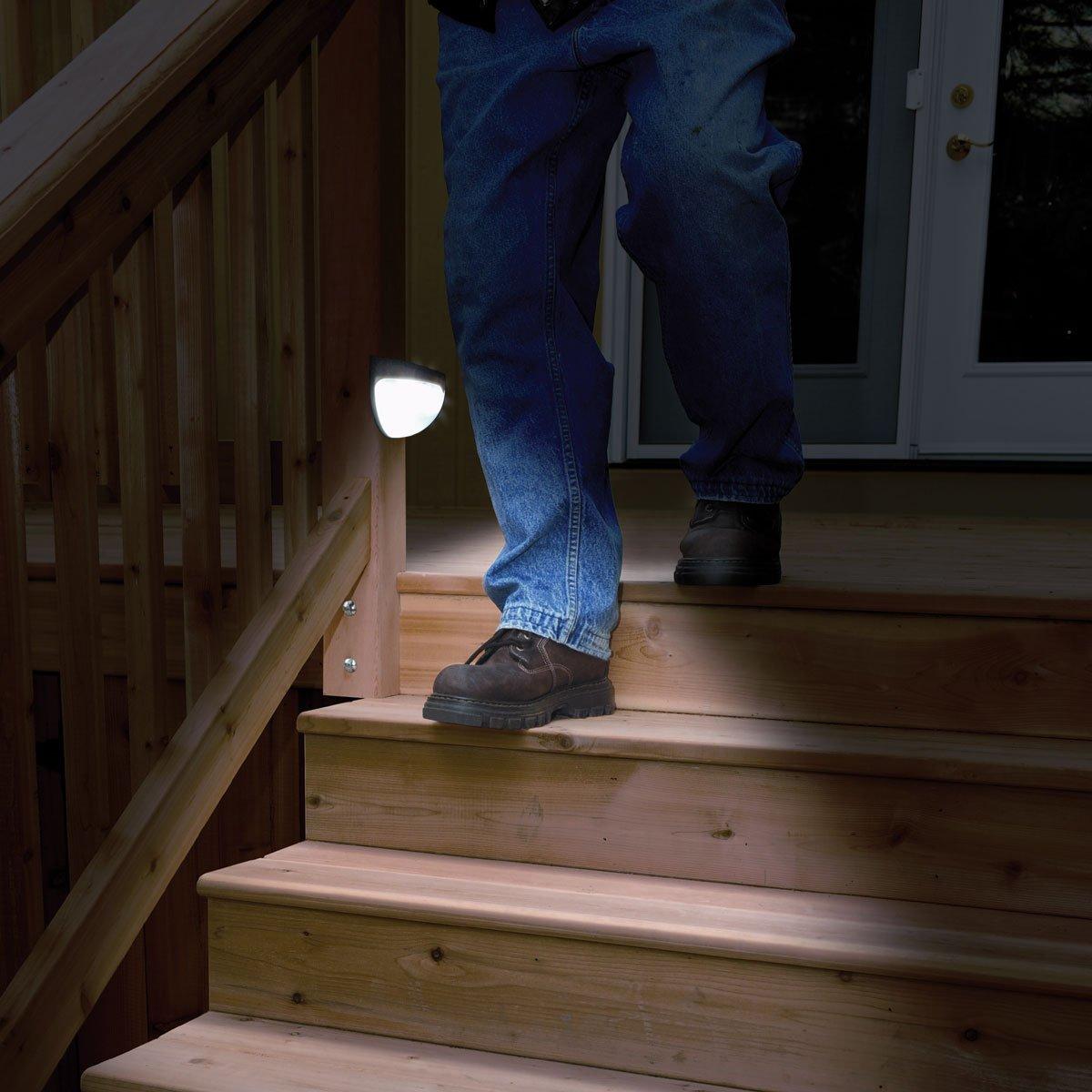 Solar Lights Outdoor, 2X Solar Step Light Powered Security Light, Light Sensation Wireless Waterproof Motion Sensor Solar Light, Outdoor Wall Light for Patio, Deck, Garden, Garage
