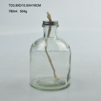 Round glass oil lamps with wick oil burners