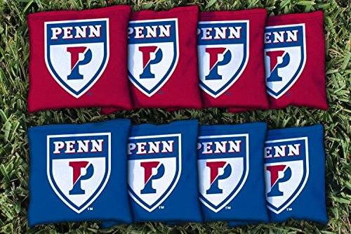 NCAA Replacement Corn Filled Cornhole Bag Set NCAA Team: University of Pennsylvania Penn Quakers