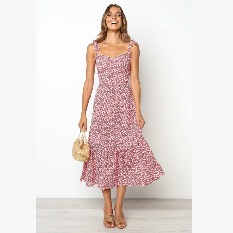Alibaba.com / Boho long dress women beach summer sexy female Vintage floral print strap sleeveless maxi dress vestidos de festa Y10636