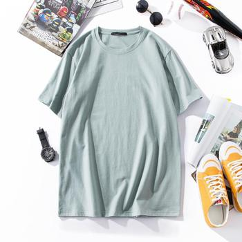 Cotton Round Collar Plain Color Casual T Shirt Summer