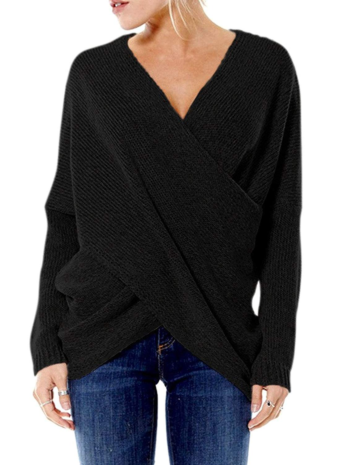 PERSUN Womens Fashion Cross Wrap Front V-Neck Long Sleeve Knit Jumper Top