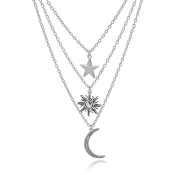Fancy multi layer galaxy pave moon star sun pendants chain necklace fancy multi layer galaxy pave moon star sun pendants chain necklace for girls aloadofball Gallery
