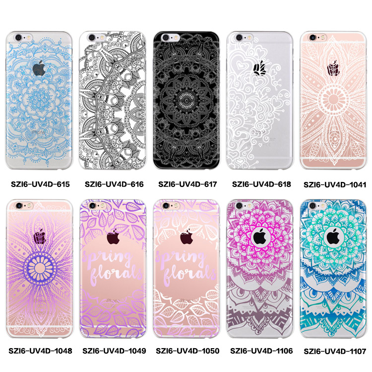 Case Design flower phone cases : Caso claro transparente para el iphone 6 impresiu00f3n mandala flor para ...