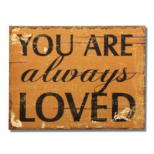 "Adeco Decorative Wood Wall Hanging Sign Plaque ""You Are Always Loved"" Gold Black Home Decor"