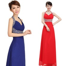 C70453A fashion latest Long neck hung evening dress for wedding