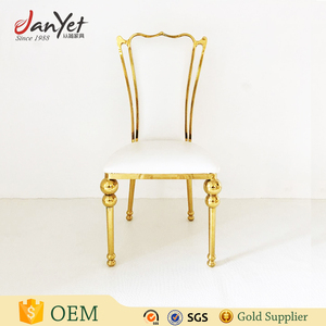 Event furniture stainless steel metal frame gold chair for wedding