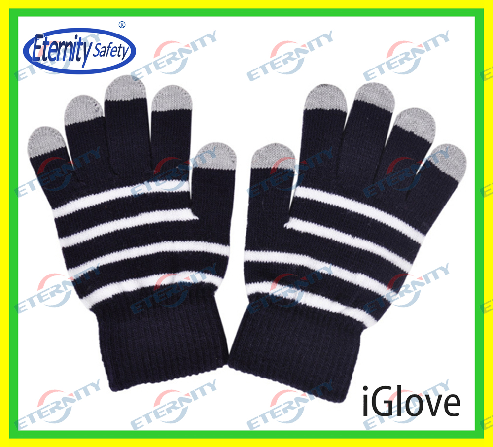 New fashion custom Christmas gift acrylic fingers touch screen winter gloves