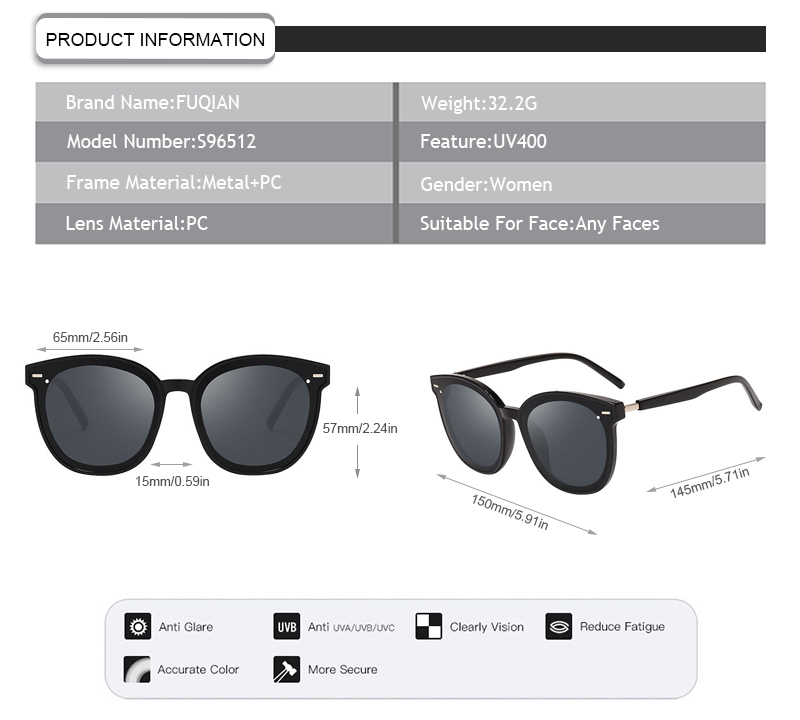 Fuqian polarised sunglasses price manufacturers for lady-9