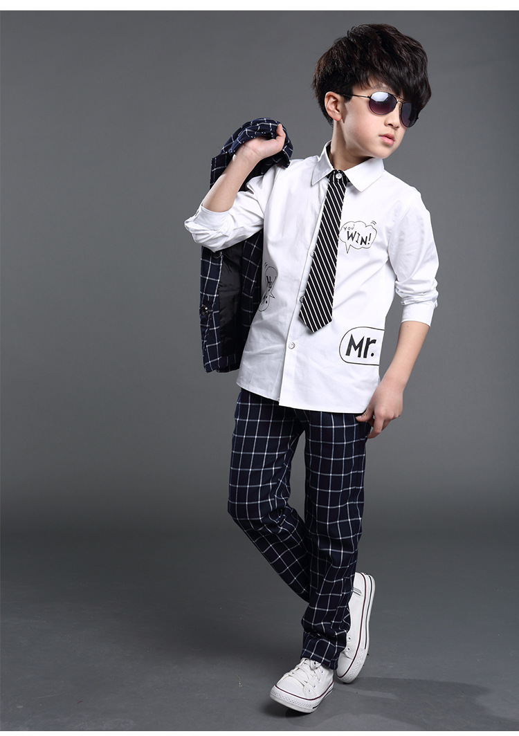 2015 spring autumn new Korean large kid boys white cotton shirt plaid tie children s clothing - Country Wedding Shirts