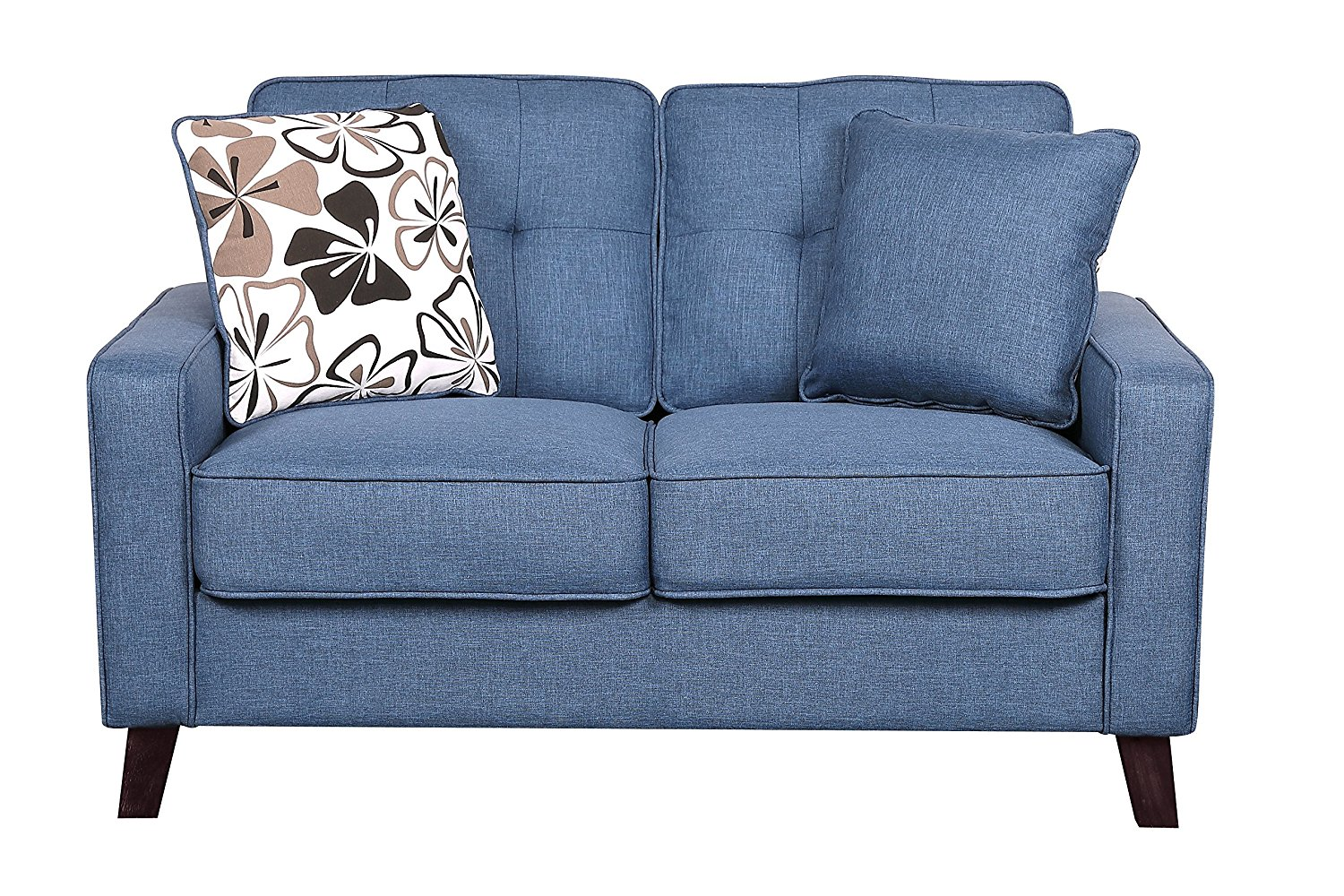 Container Furniture Direct Modern Collection Upholstered Linen Loveseat With Wood Legs and Two Button Tufted Accent Pillows, Blue