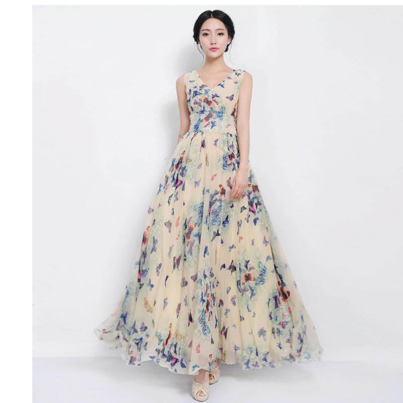 2015 summer style plus size maxi dress women casual dress chiffon long summer boho beach dress vetement femme