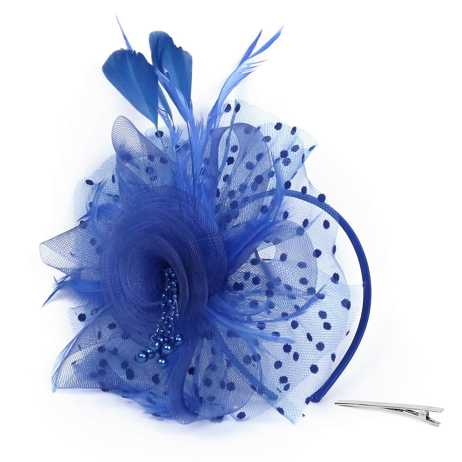 Get Quotations · Xflyee Fascinators Hat Flower Mesh Ribbons Feathers Tea  Party Cocktail Headband for Girls and Women 58e0d75fa1c