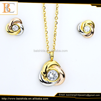 New arrival wholesale high quality colorful jewelry necklace set pendant gold plated stainless steel for women