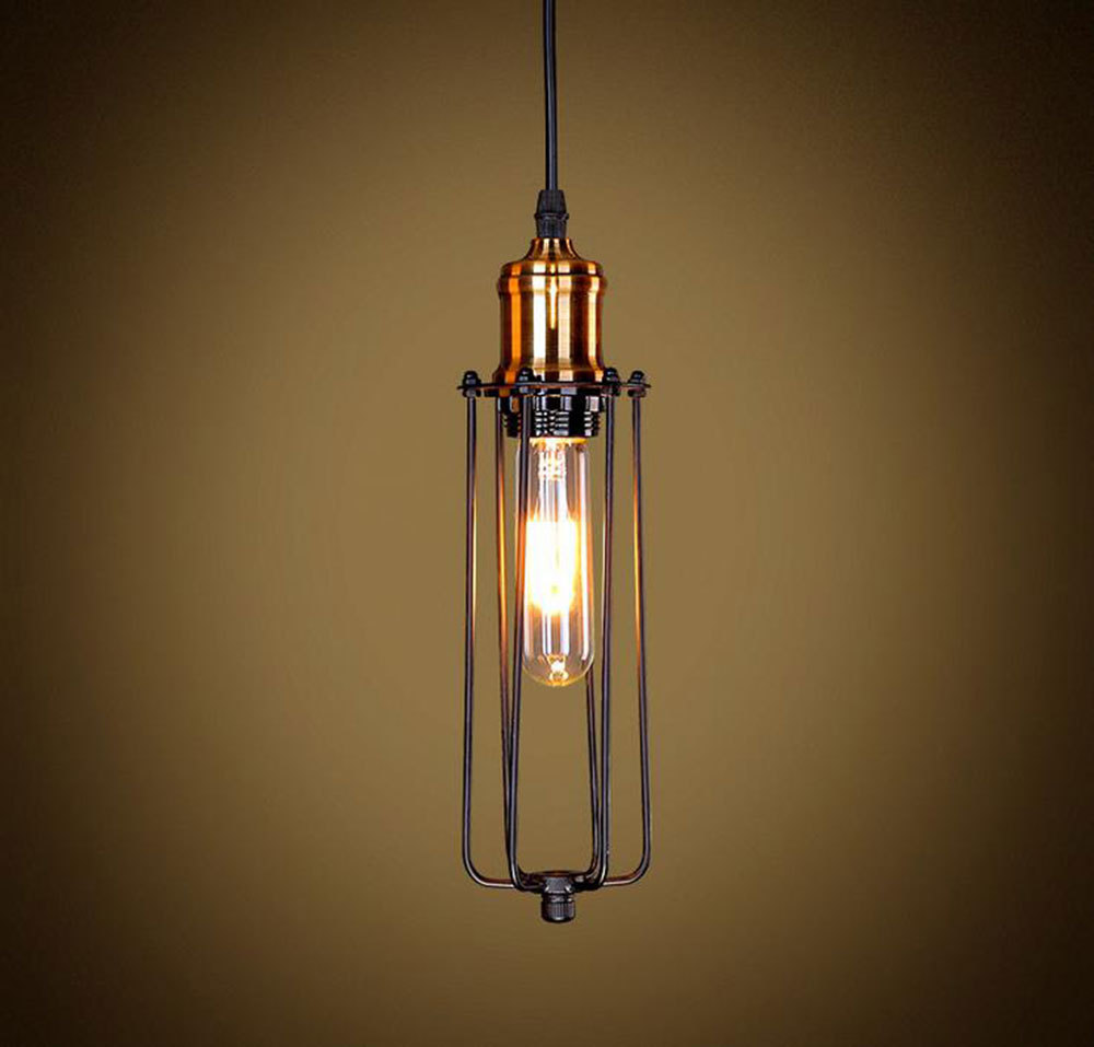 Long Pendant Lights: Aliexpress.com : Buy Traditional Mini Black Wire Long Cage