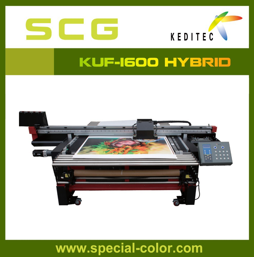 KUF-1600 UV flatbed and roll to toll printer.glass,metal,foam board.acrylie,PVC,PET,one way vision