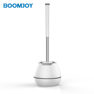 Boomjoy White&Blue Color Tpr Toilet Brush Set Bathroom Plastic Round Holder Cleaning Brush Home Cleaning Tools Suppliers