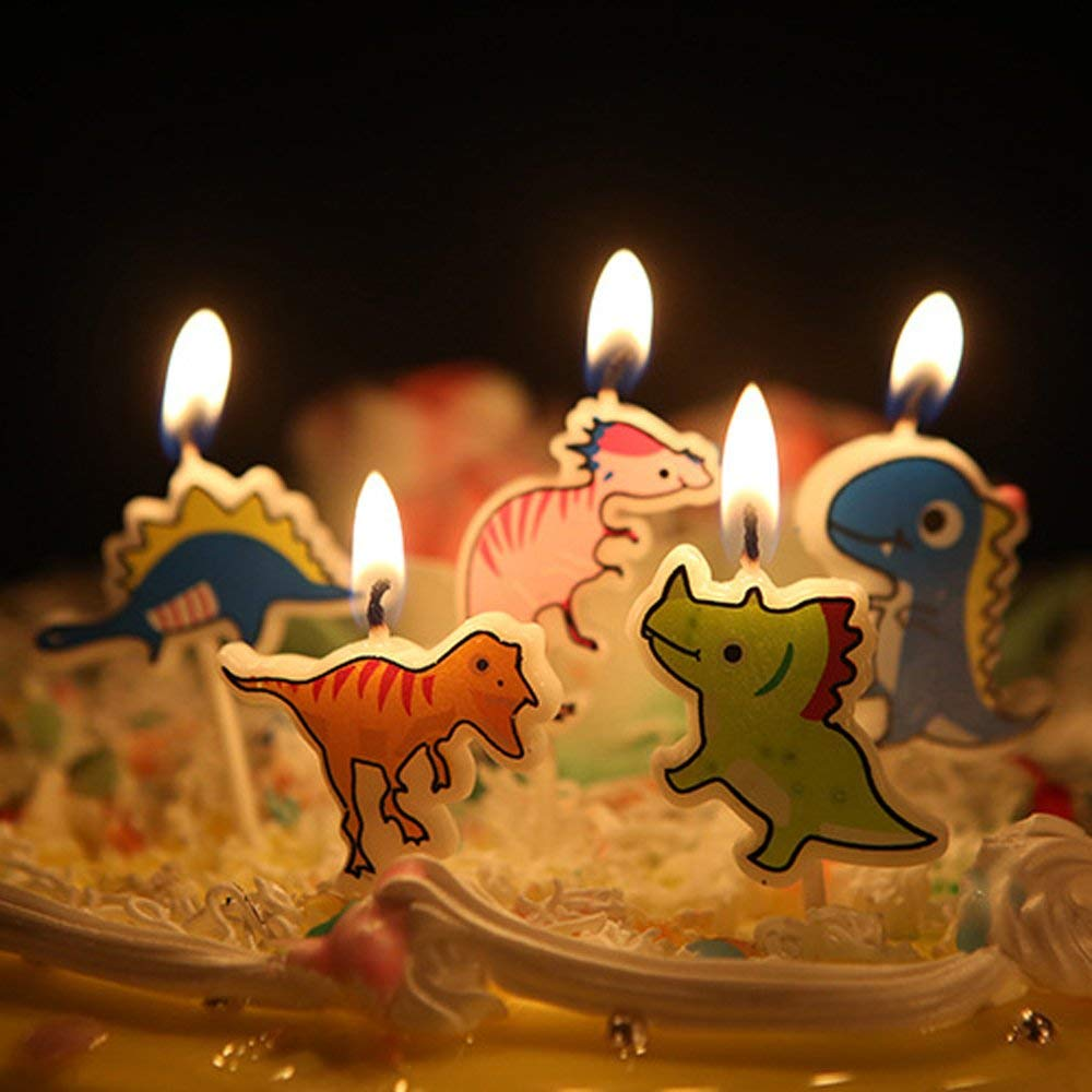 Get Quotations Ecape Cartoon Animal Party Candles Cute Dinosaurs Handmade Craft Western Cake Decoration