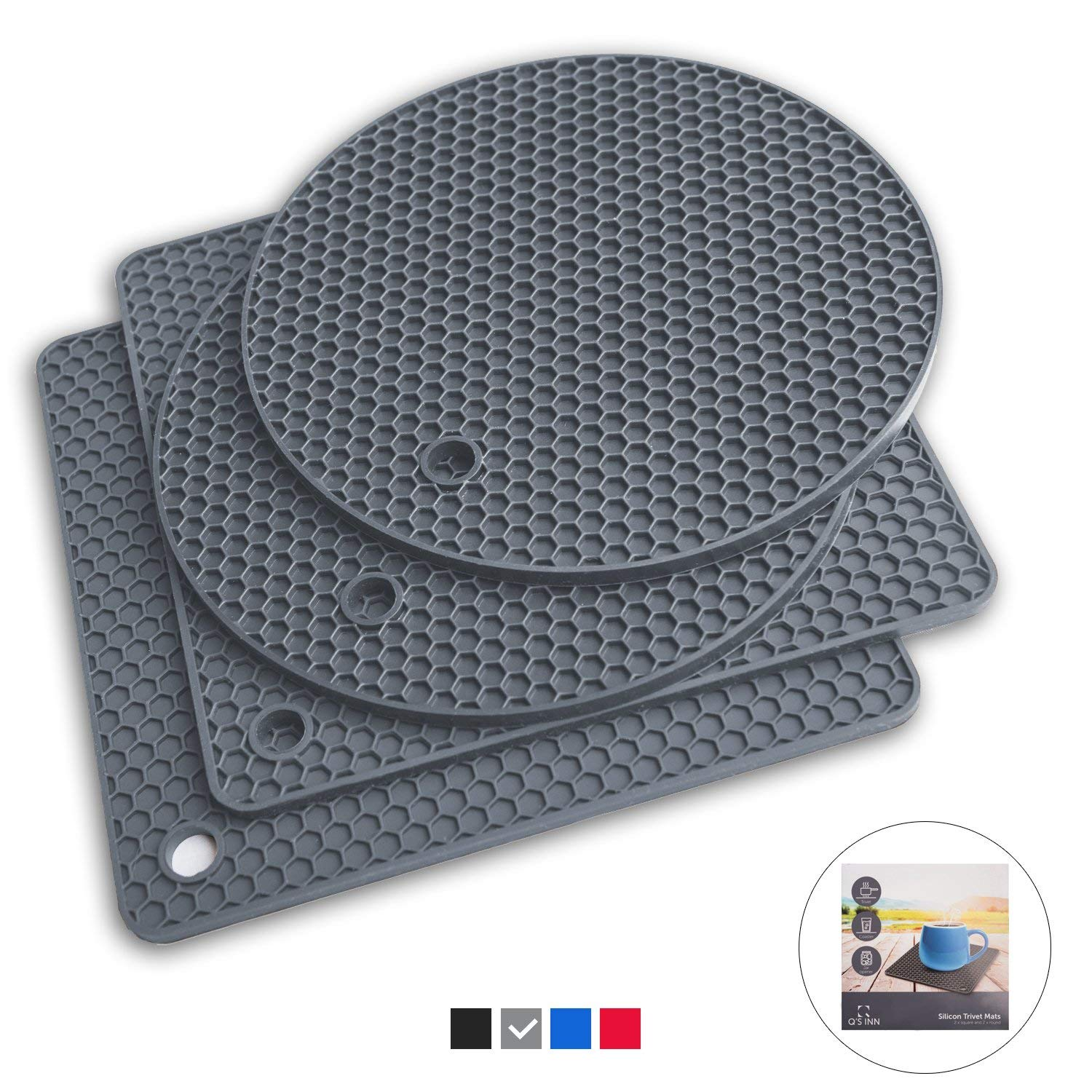 Q's INN Silicone Trivet Mats | Hot Pot Holders | Drying Mat. Our 7 in 1 Multi-Purpose Kitchen Tool is Heat Resistant to 440°F, Non-slip,durable, flexible easy to wash and dry and Contains 4 pcs