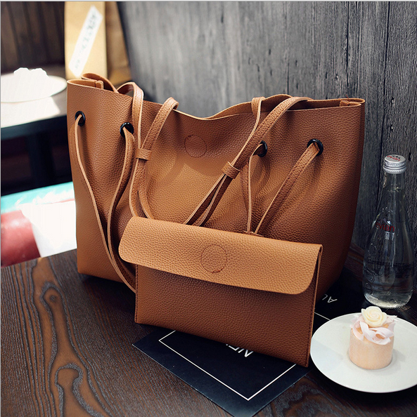 Free Shipping Women Handbag Set 2 Pieces Bag PU Leather <strong>Tote</strong> Small Shoulder Bag