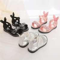 Summer 2018 new design children cute sandals girl soft bottom sequined peep-toe sandals and Roman shoes.