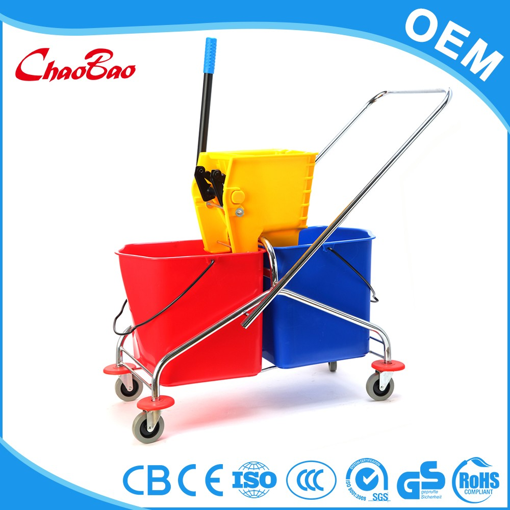 50L double mop wringer trolley bucket with wringer