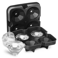 New Arriving 4 Cavities Ice Cube Maker Molds Fda Approved Silicone Diamond Ice Cube Tray