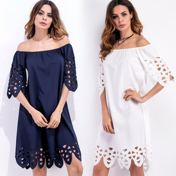 New Spring Summer Women\'s One Shoulder Dress 2017 Plus Size Dresses ...